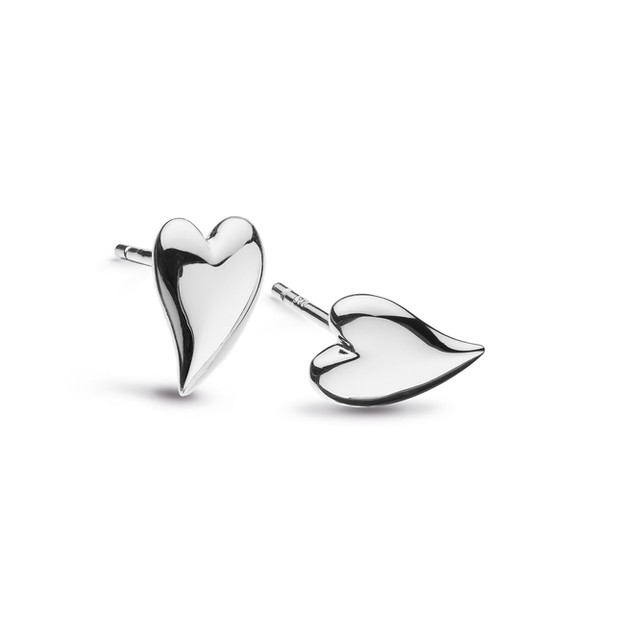 Kit Heath Desire Kiss Rhodium Plate Mini Heart Stud Earrings Rhodium Plated Sterling Silver Product code 40BK  £32.00