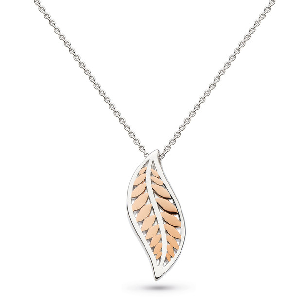 Blossom Eden Blush Leaf Necklace Rhodium Plate & 18ct Rose Gold Plate Product code 90249RG  £80.00