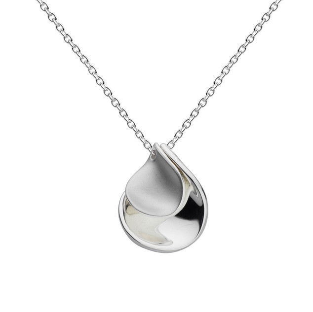Enchanted Double Petal Sandblast Necklace Sterling Silver Product code 90356SB  £55.00