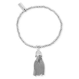 Silver Mini Disc Tassel Bracelet