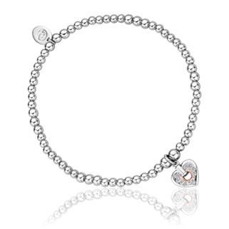 3SBB85S Cariad Sparkle Heart Affinity Bead Bracelet £99