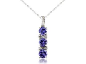 9ct White Gold Diamond & Tanzanite Pendant Necklace £495