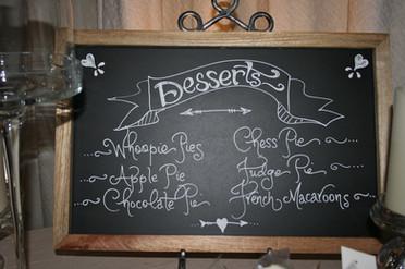 Custom hand-lettered dessert menu chalkboard