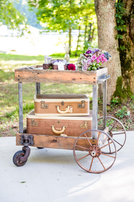 Vintage cart and suitcases