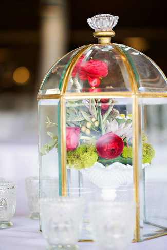 Cloche filled with florals