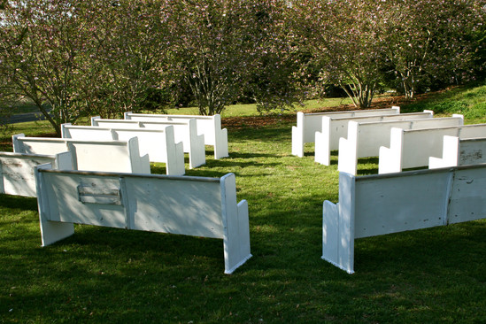 Vintage white church pews for rent
