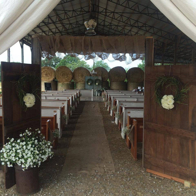 Vintage doors leading to ceremony space