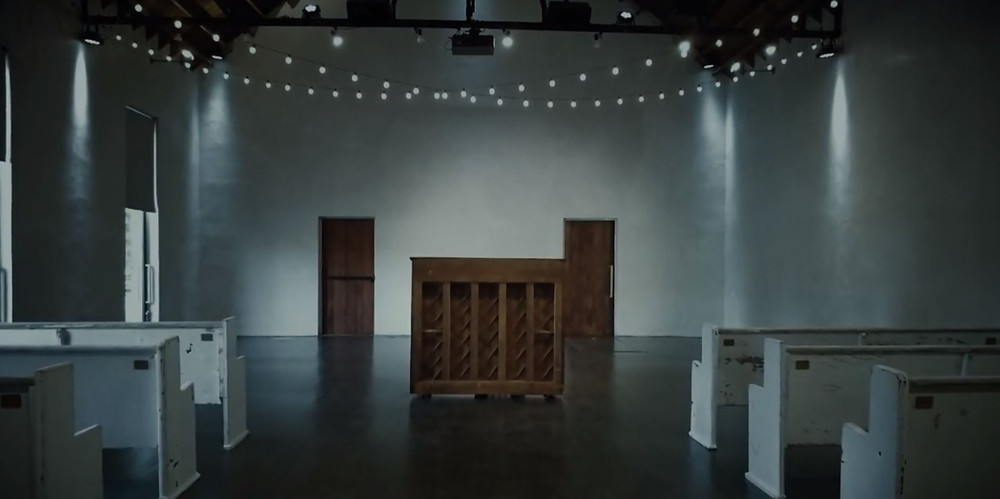 "Chase Rice ""Amen"" video; still to show our vintage white church pews."