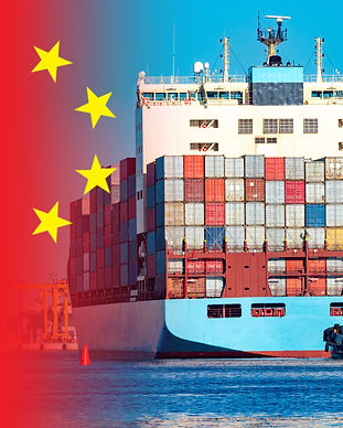 Chinese flag and container ship. Export