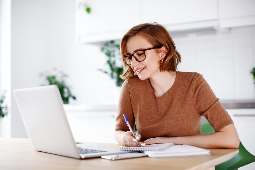 Woman on remote work or online education