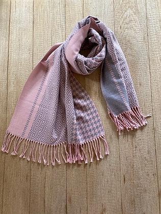 Sjaal-FR3/ST64151-Roze/Grijs