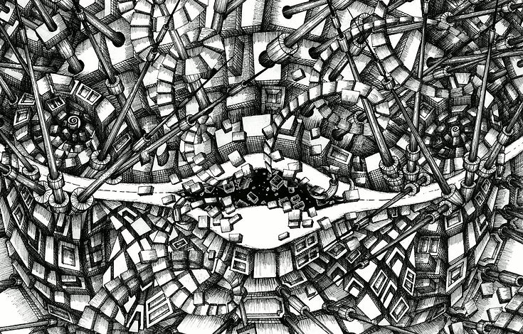 ink drawing by Petra Knezic bnw black and white drawing