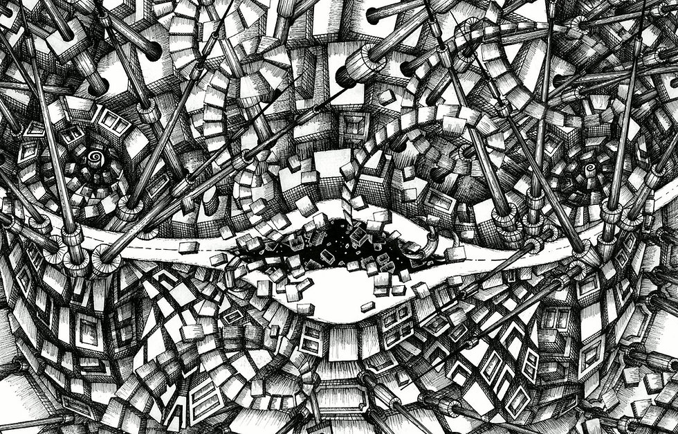 ink drawing by artist Petra Knezic bnw black and white drawing