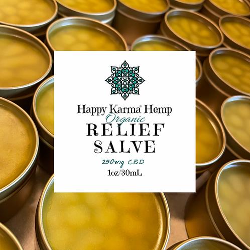 Organic CBD Relief Salve (250mg/1oz) by Happy Karma® Hemp