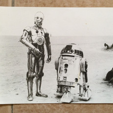 Early publicity photo of C-3PO and R2-D2