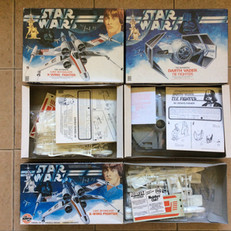 Denys Fisher Darth Vader TIE Fighter, and Airfix and DF X-Wing Fighter kits