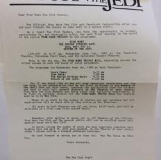 Triple Bill invitation letter Summer 1983