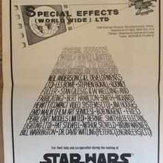Screen International magazine Star Wars Special Effects Worldwide Ltd advertisement
