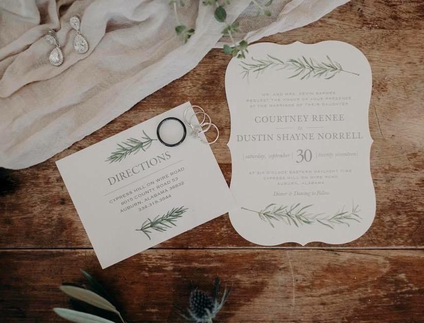 auburn wedding program, ring and jewelry