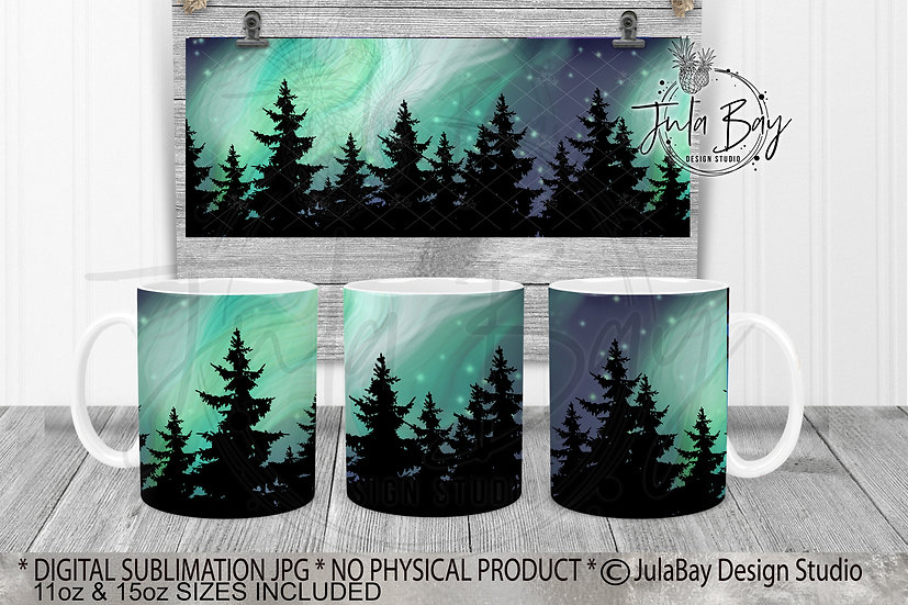 Northern Lights Mug Full Wrap Sublimation Designs Mug Design PNG