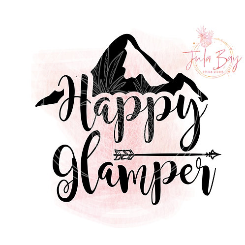 Happy Glamper SVG PNG EPS DXF with Mountain and Arrow