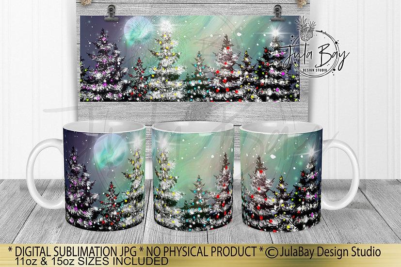 Christmas Mug Design Northern Lights Mug Wrap Sublimation Design Trees