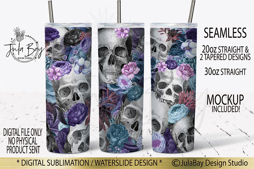 Skulls and Flowers Skinny Tumbler Design Sublimation Full Wrap Blue and Purple