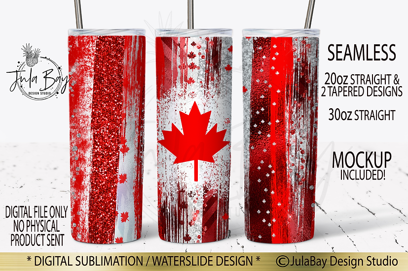 Canadian Skinny Tumbler Wrap Maple Leaf Canada Day Patriotic Tumbler