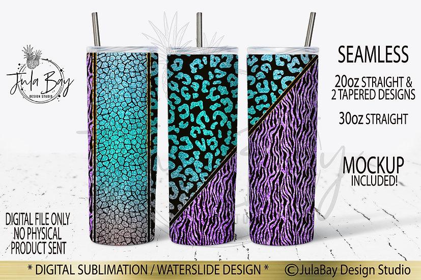 Wild Animal Print Colorful Sublimation Skinny Tumbler Design