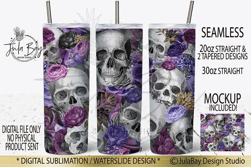 Skull and Flowers Skinny Tumbler Sublimation Design Tumbler Wrap PNG
