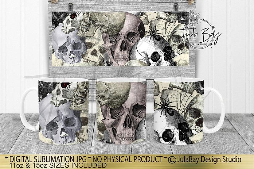 Skulls & Spiders Full Mug Wrap Sublimation Designs Skull Mug Design