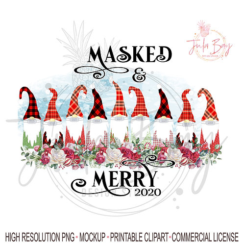 9 Gnomes with Masked and Merry Christmas PNG Sublimation Design Family o