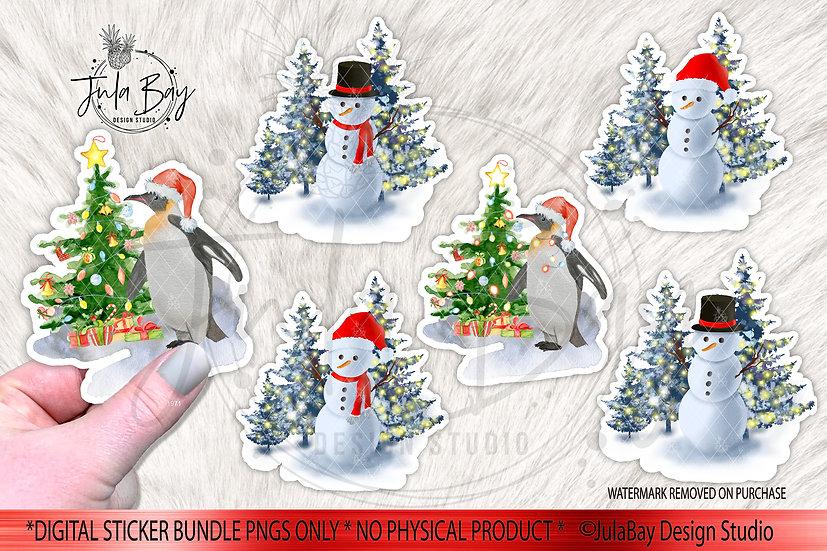Snowman Sticker Bundle Penguin Christmas Stickers Original Art