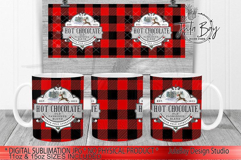 Hot Chocolate  Buffalo Plaid Mug Full Wrap PNG for 11oz & 15oz Coffee Mug