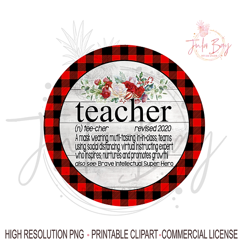 2020 Christmas Ornaments For Teachers PNG Social Distancing Teacher Teams