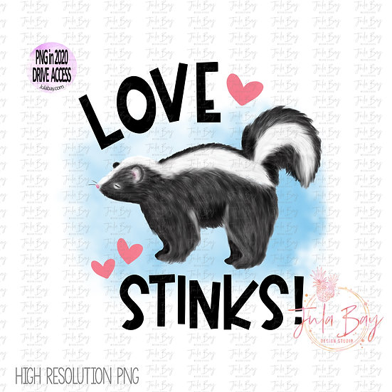 Love Stinks Valentine Day Sublimation Clipart PNG Graphic Original Watercolor Ar