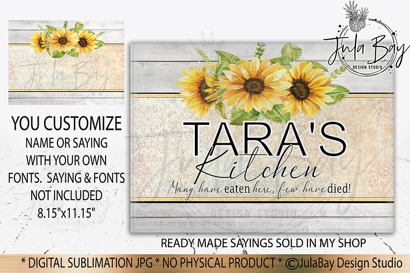 Customizable Family Cutting Board Sublimation Design Yellow Sunflowers
