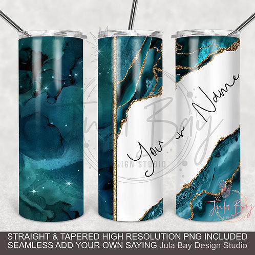 Teal Agate Split Full wrap PNG Sublimation design for 20oz Skinny Tumbler