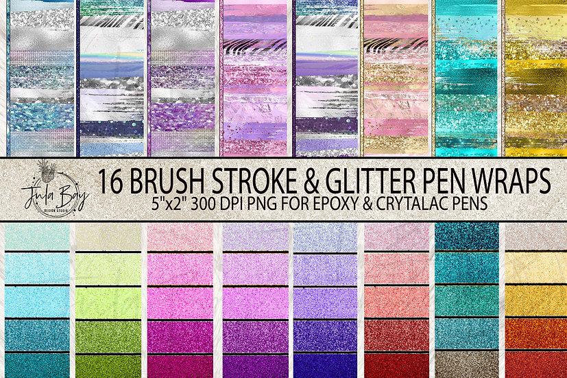 Pen Wraps for Epoxy Pen Paint Stroke Zebra Print and Faux Glitter Gradient
