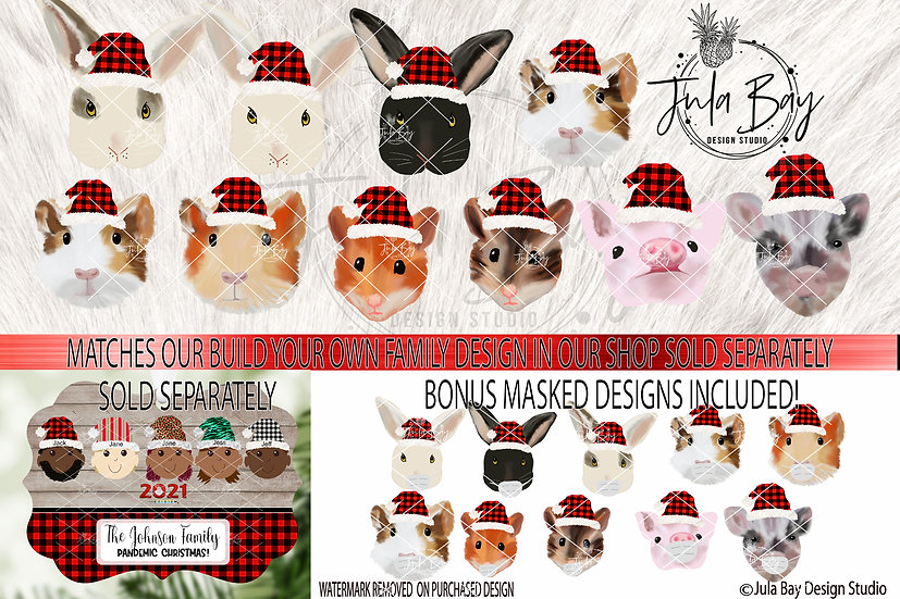 Rabbits for Elf Ornament Guinea Pigs with Santa Hats Hamsters with Masks