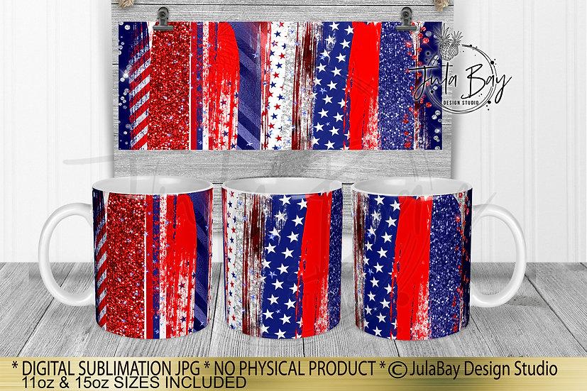 4th of July Full Mug Sublimation Design July 4th Patriotic Brush Stroke Mug Wrap