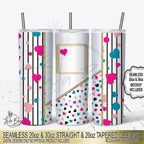 Valentines Day Skinny Tumbler Template Heart Geometric Seamless Skinny PNG