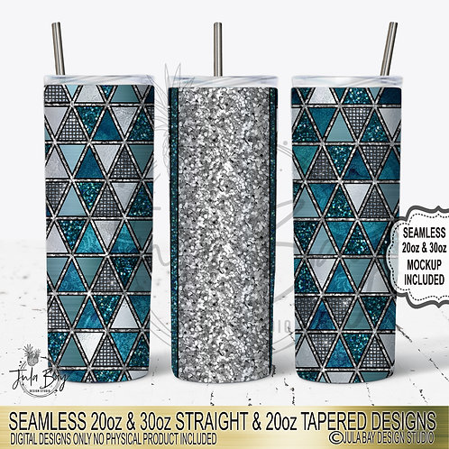 Teal Triangle Glitter Geometric  20oz Skinny Tumbler Template Sublimation PNG
