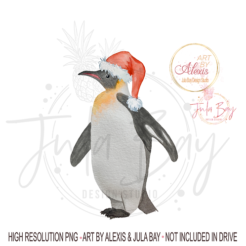 Watercolor Christmas Penguin PNG Santa Penguin Sublimation Design Art By Alexis