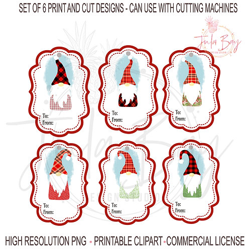 Nordic Gnomes Christmas Gift Tags Bundle PNG Print and Cut Gnomes Colorful Fun