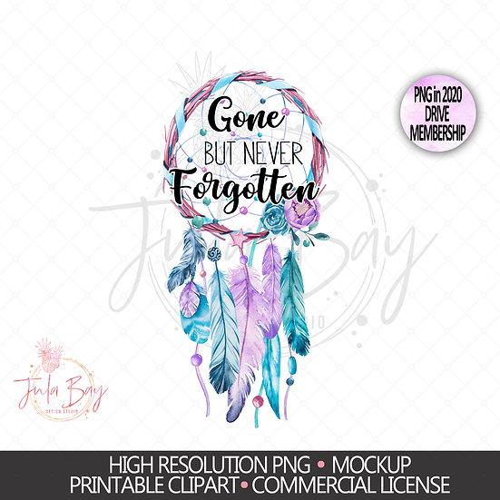 Dreamcatcher Memorial Sublimation PNG - Gone but never forgotten Clipart