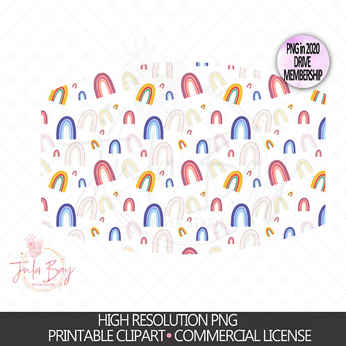 Rainbow Pattern Mask PNG Rainbow pattern Sublimation Mask Design