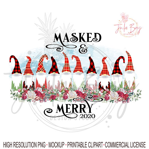 10 Gnomes with Masked and Merry Christmas PNG Sublimation Design Family of 10