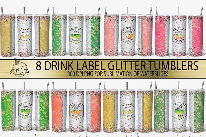 Skinny Tumbler Bundle Glitter Drink Labels Lemonade Vodka Margaritas