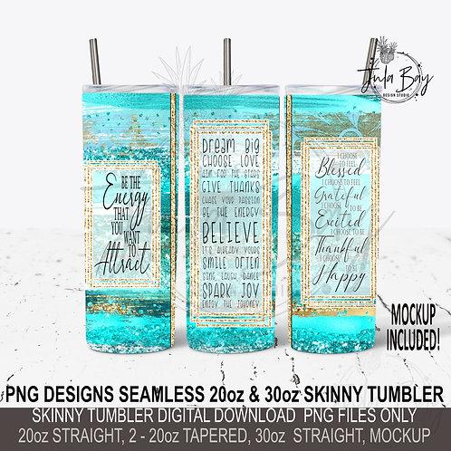 Seamless Inspiration Brush Stroke Full Skinny Tumbler Design PNG Positivity
